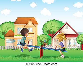 bambini, parco, gioco, villaggio