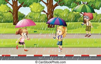 bambini, parco, scena, pioggia
