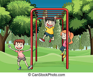bambini, parco, tre, gioco