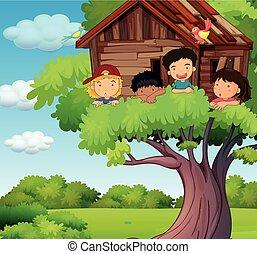 bambini, parco, treehouse, gioco