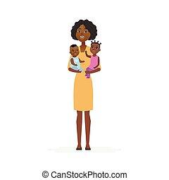 bambini, persone, padre, -, giovane, illustrazione, isolato, caratteri, africano, cartone animato