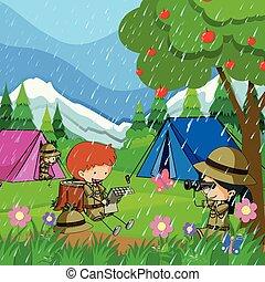bambini, pioggia, accampandosi fuori