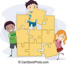 bambini, puzzle