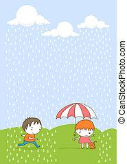 bambini, rain.