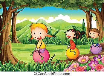 bambini, rimbalzare, loro, foresta, palloni, gioco