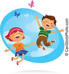 bambini, saltare, felice