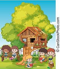 bambini, scena, treehouse