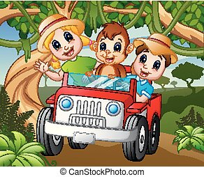 bambini, scimmia, guida, automobile, foresta, felice