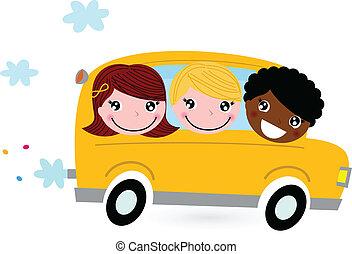 bambini scuola, autobus, isolato, giallo, bianco