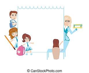 bambini scuola, cornice