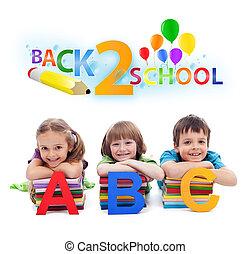 bambini scuola, lettere, -, indietro, libri