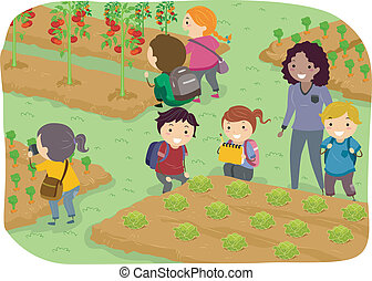 bambini scuola, stickman, giardino, verdura, viaggio