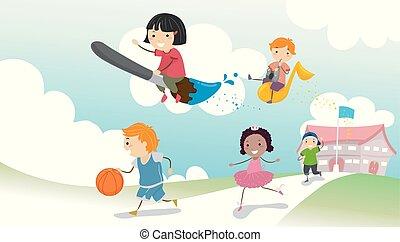 bambini scuola, stickman, illustrazione, attività