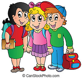 bambini scuola, tre, felice