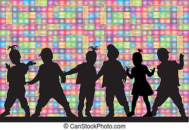 bambini, silhouette
