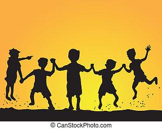 bambini, silhouette, gioco