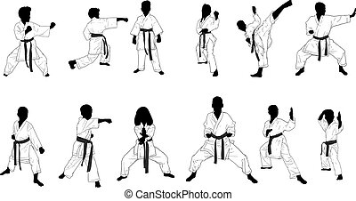 bambini, silhouette, karate