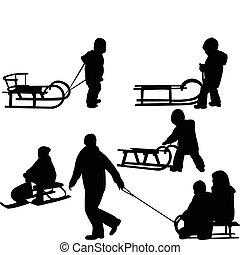 bambini, sledding