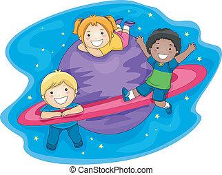 bambini, spazio esterno