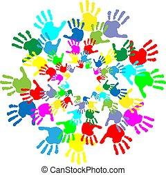bambini, stampe, colorito, mano