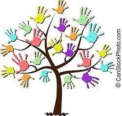 bambini, stampe, unito, albero, mano