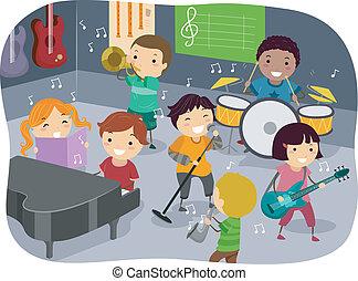 bambini, stanza musica