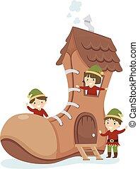 bambini, stickman, casa, elfo, illustrazione, scarpa