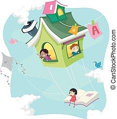 bambini, stickman, casa, volare, libro, sentiero per cavalcate