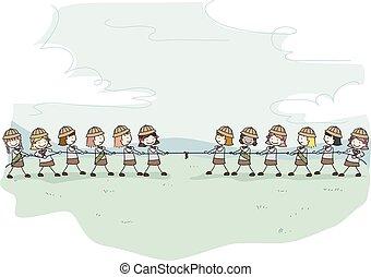 bambini, stickman, illustrazione, esploratori, ragazza, guerra, tirare