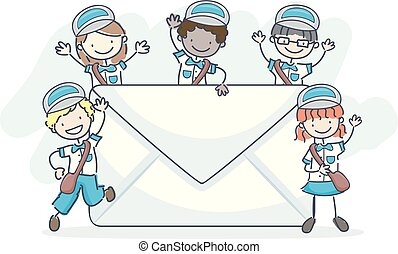 bambini, stickman, illustrazione, lettera, posta, uomo