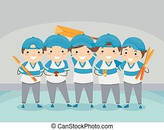 bambini, stickman, interno, grillo, squadra, illustrazione