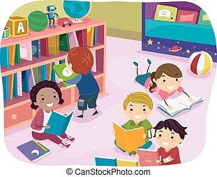 bambini, stickman, lettura, prescolastico, tempo
