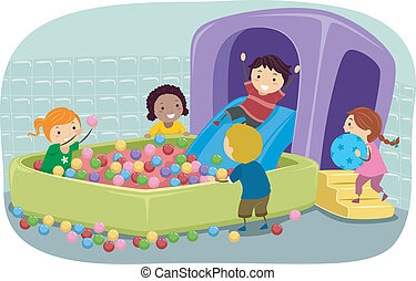 bambini, stickman, palla gonfiabile, fossa, gioco