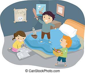 bambini, stickman, pirati, illustrazione, camera letto, gioco