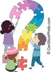 bambini, stickman, puzzle, domanda, illustrazione, marchio