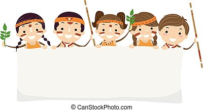 bambini, stickman, yabun, festival, australiano, bandiera