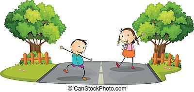 bambini, strada, due, gioco