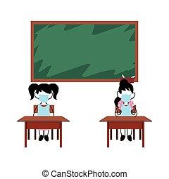 bambini, studiare, maschere, aula, faccia