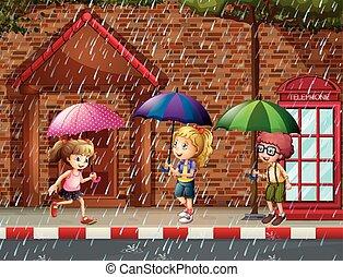 bambini, tre, pioggia