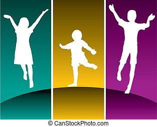 bambini, tre, saltare