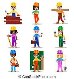 bambini, vettore, illustrazione, costruttori, caratteri