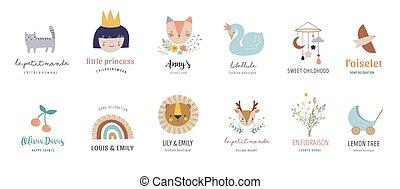 bambini, vettore, illustrazioni, decorazione, bambino, pastello, icone, vivaio, stanza, stile, logos, retro, colors.