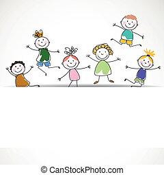 bambini, vettore, piccolo