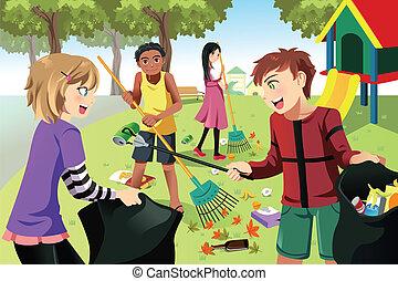 bambini, volontario