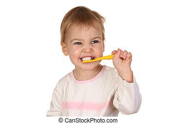 bambino, 2, spazzola, dente