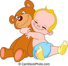 bambino, abbraccio, orso