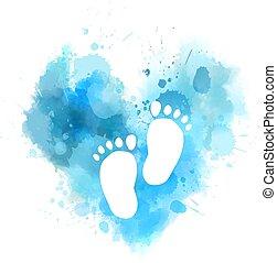 bambino, acquarello, cuore, ingombri, blu