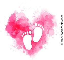 bambino, acquarello, cuore, ingombri, rosa