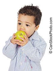 bambino, adorabile, mela mangia