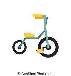 bambino, appartamento, tricicli, icona